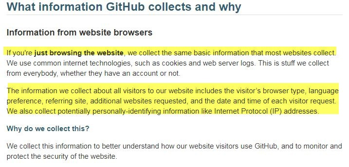 GitHub Privacy Statement What Information Collects And Why