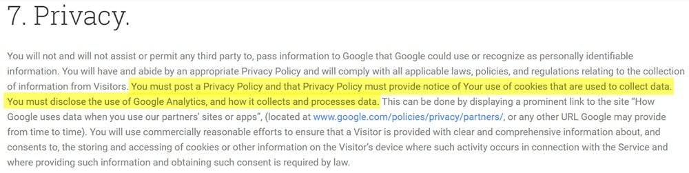 Google Analytics Terms of Service: Privacy clause highlighted