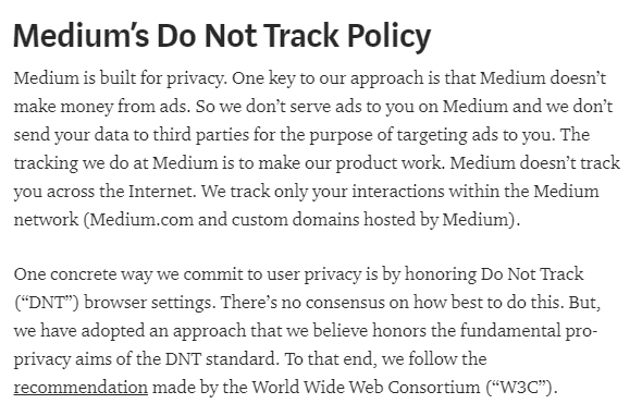 Medium's Do Not Track DNT Policy intro