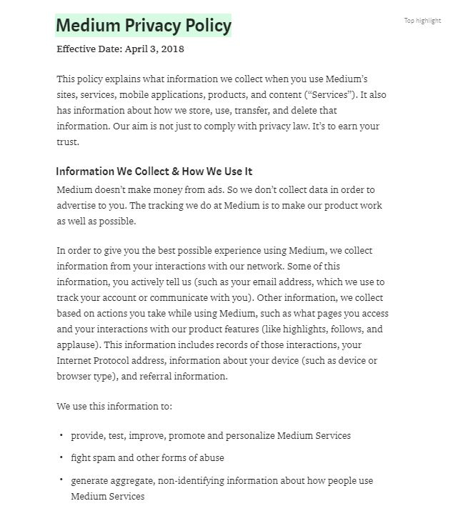 Medium Privacy Policy: Information We Collect and How We Use It clause