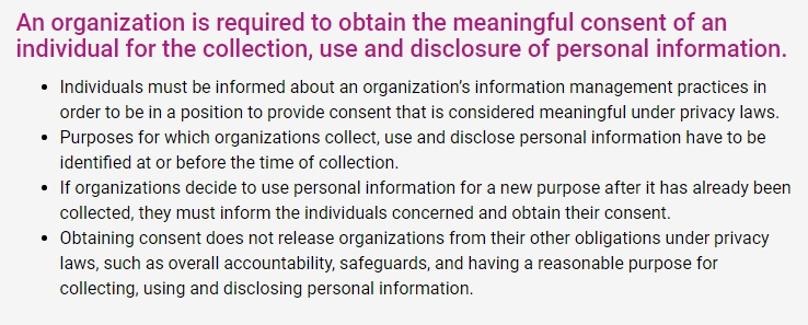 Office of the Privacy Commissioner of Canada: Guidelines for Online Consent: Section describing meaningful consent