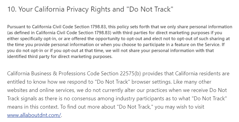 "Pandora Privacy Policy: Your California Privacy Rights and ""Do Not Track"" clause"
