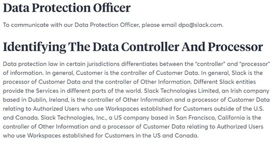 Slack Privacy Policy: Data Protection Officer and Identifying the Data Controller and Processor clauses