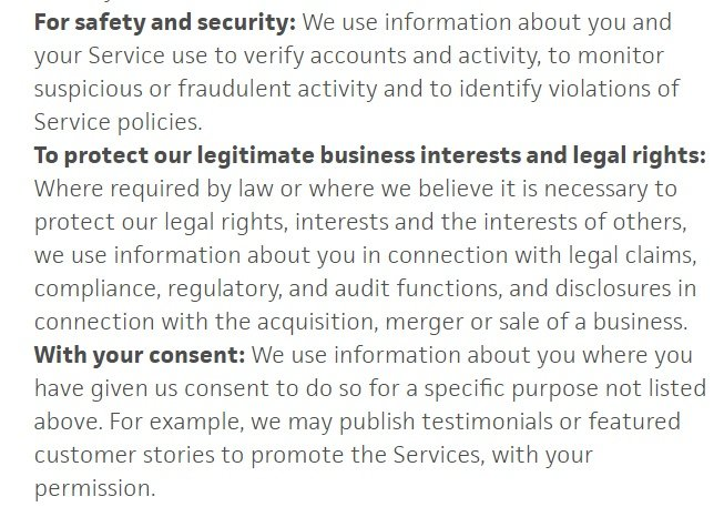 Trello Privacy Policy: Information we collect clause excerpt covering legitimate interests, security and consent