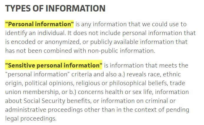 a5b3d3617c9 Trello Privacy Policy  Types of Information clause  Personal and Sensitive  Personal information defined