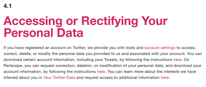 Twitter Privacy Policy: Accessing or Rectifying Your Personal Data clause