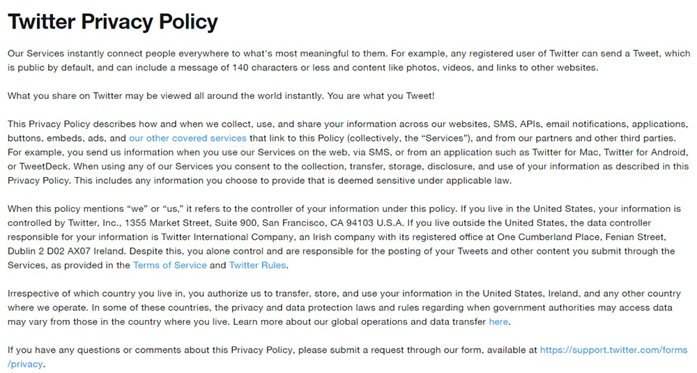 Twitter Privacy Policy Intro Clause