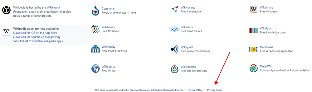Wikipedia Homepage Screenshot Showing Footer With Privacy Policy Link