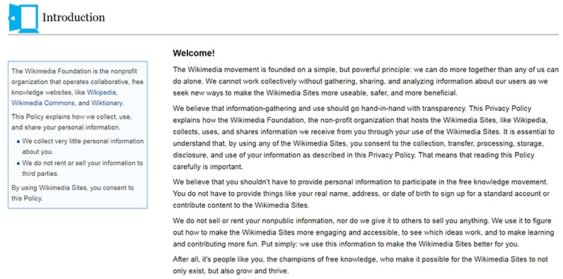 Wikipedia Privacy Policy Welcome Clause