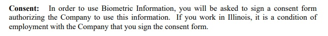 EmployBridge Biometric Information Privacy Policy: Consent clause