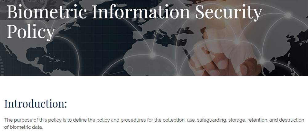 Firstsource: Biometric Information Security Policy: Screenshot of introduction