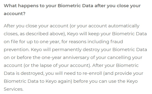 Keyo Biometric Data Policy: What happens to biometric data after you close your account clause