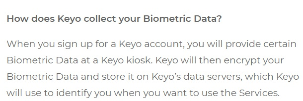 Keyo Biometric Data Policy: How does Keyo collect your biometric data clause