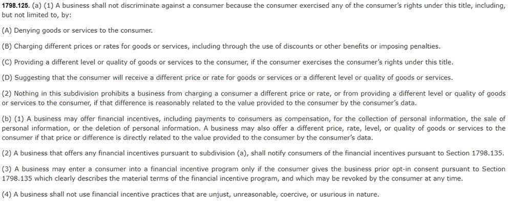 California Consumer Privacy Act CCPA - Section 1798:125 - No discrimination clause