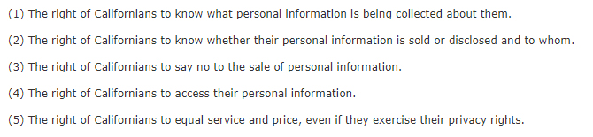 California Consumer Privacy Act CCPA - Section 1798:110 - Five rights for personal data collected online