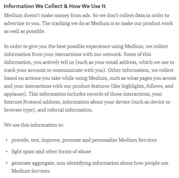 Screenshot of Medium Privacy Policy excerpt: Information we collect and how we use it clause