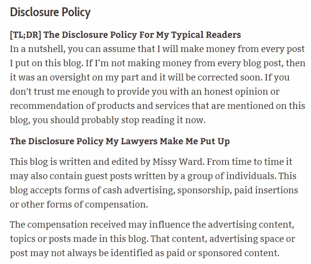 Missy Ward Privacy Policy: Affiliate disclosure policy