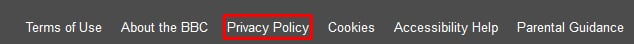 BBC Privacy Policy link in footer - highlighted