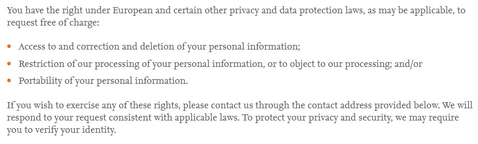 Elsevier Privacy Policy: Accessing and updating your information/European rights clause
