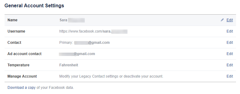 Facebook General Account Settings screen