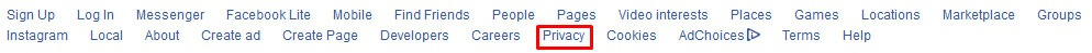 Facebook Privacy Policy link in footer - highlighted