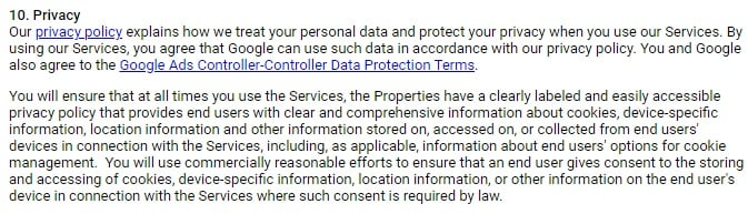 Google AdSense - AdMob Terms of Service: Privacy clause with Privacy Policy requirement