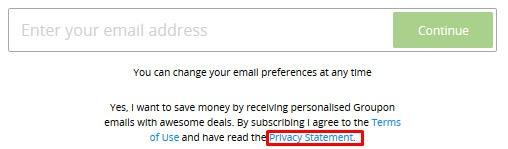 Groupon email sign-up form with Privacy Statement link highlighted