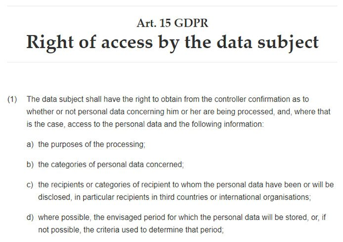 Intersoft Consulting: GDPR Article 15: Right of access by the data subject
