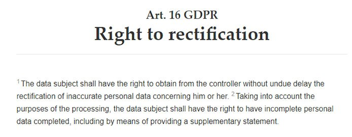 Intersoft Consulting: GDPR Article 16 - Right to rectification