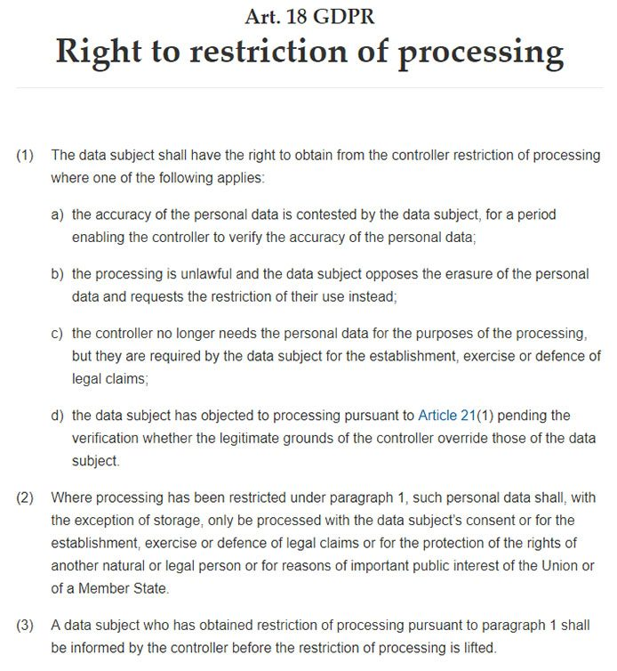 Intersoft Consulting: GDPR Article 18 - Right to restriction of processing
