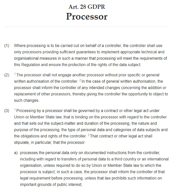 Intersoft Consulting: GDPR Article 28 - Processor