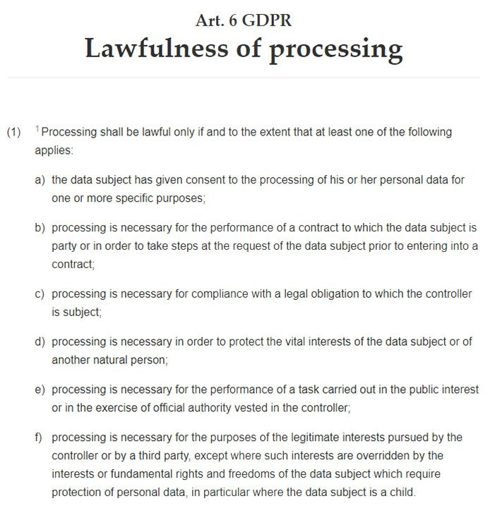 Intersoft Consulting: GDPR Article 6: Lawfulness of processing