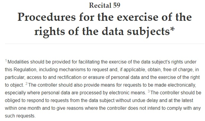 Intersoft Consulting: GDPR Recital 59 - Procedures for the exercise of the rights of the data subjects
