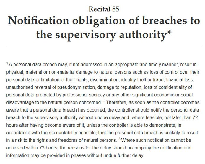 Intersoft Consulting: GDPR Recital 85 - Notification obligation of breaches to the supervisory authority