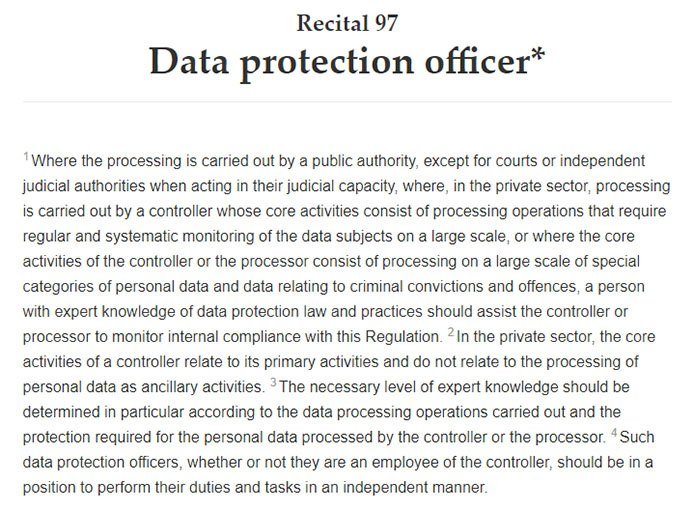 Intersoft Consulting: GDPR Recital 97 - Data protection officer