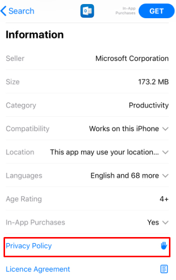 Microsoft Outlook iOS app store listing with Privacy Policy link highlighted
