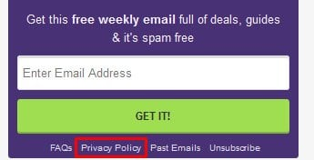 MoneySavingExpert.com email newsletter sign-up form with Privacy Policy link highlighted