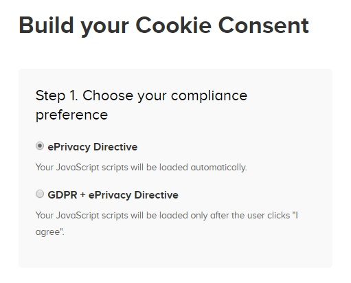 PrivacyPolicies.com: Cookies Consent - Choose your compliance preference - Step 1