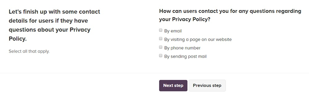 PrivacyPolicies.com: Privacy Policy Generator - Select ways you wish to allow your users to contact you - Step 4