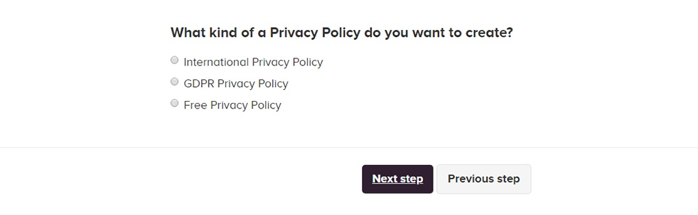 PrivacyPolicies.com: Privacy Policy Generator - What kind of Privacy Policy you want - Step 5