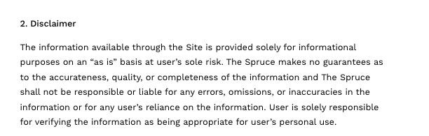The Spruce Eats Terms of Use: Disclaimer clause