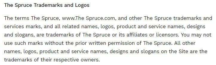 The Spruce Eats Terms of Use: Trademarks and Logos copyright clause