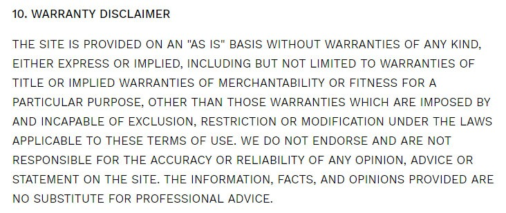 The Spruce Eats Terms of Use: Warranty Disclaimer clause
