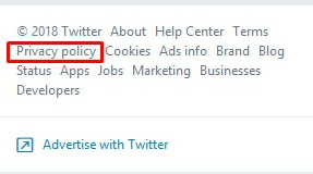 Twitter side menu Privacy Policy link - highlighted