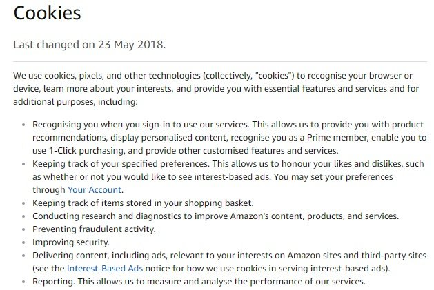 Amazon UK: Help and Customer Service - excerpt of Cookies section