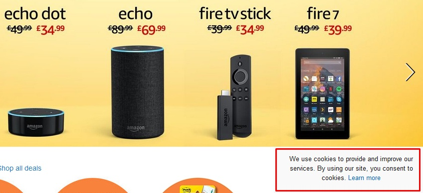 Screenshot of Amazon UK website homepage with cookies notice highlighted