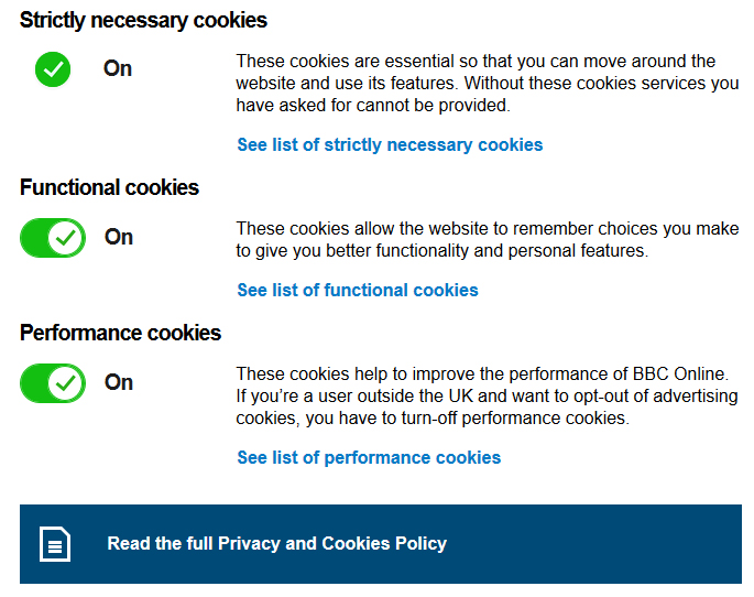 Screenshot of the BBC's Change Cookies Settings page