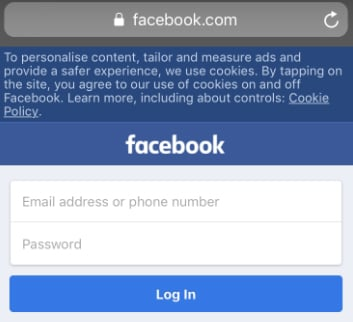 Screenshot of Facebook mobile homepage with cookies notice banner