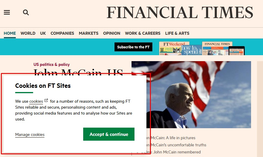Financial Times homepage: Screenshot of Cookies Consent notice - highlighted