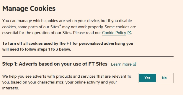Screenshot of Financial Times Manage Cookies settings screen